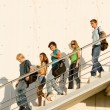 Students leaving campus — Stock Photo