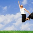 Business concept - businesswoman jumping with success — Stock Photo