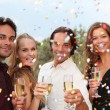Celebration party with champagne and confetti — Stock Photo #6361543