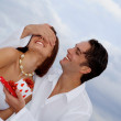Loving couple giving birthday, engagement or wedding gifts — Stock Photo