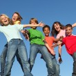 Kids at summer glee club camp - Stock Photo