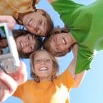 vita tänder och leenden, glada grupp av barn — Stockfoto