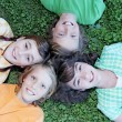 Happy group of summer camp kids - Stock Photo
