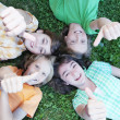 Group of kids with thumbs up — Stok fotoğraf