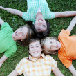 Happy group of kids, at summer camp — Stock Photo #6361651