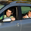 Foto Stock: Father and kid in car road trip