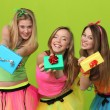 Stock Photo: Birthday party teens with gifts
