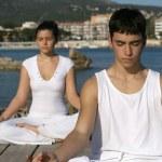 Yoga or meditation class outdoors — Stock Photo