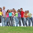 Group of diverse teens — Stock Photo