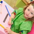 Happy kid drawing at home or school kindergarden or kindergarten — Stock Photo #6361733
