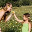 Kid giving flower to mum - Stockfoto