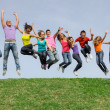 Happy smiling diverse mixed race group jumping - Stockfoto