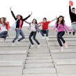Happy university or high school children happy at end of term — стоковое фото #6361777