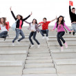 Happy university or high school children happy at end of term - Stockfoto