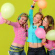 Neon party fashion girls with balloons — Stock Photo