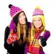 Happy smiling winter hat young women or girls - Stock Photo