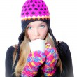 Teenager with hot drink — Stock Photo