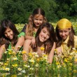 Happy smiling children in summer - Foto Stock