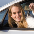 Foto Stock: Womshowing key to new or hire rental car