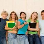 Groupe de joyeux étudiants sur le campus — Photo