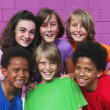 Foto Stock: Diverse mixed race group of kids