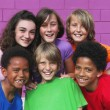 Diverse mixed race group of kids - Stock Photo