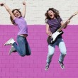 Teen pop group with guitar — Foto Stock