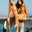 Young women on vacation — Stockfoto