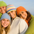 Happy group of smiling teens — Stock Photo