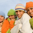 Group of teens in winter — Stock Photo