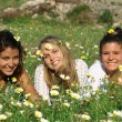 Group of hippy teens or young women — Stock Photo