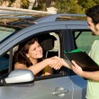 Passed driving, exam or buying or hiring, new car. - Stock Photo