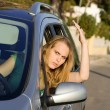 Road traffic rage, angry driver — Stock Photo