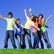 Foto Stock: Piggyback diverse group teens