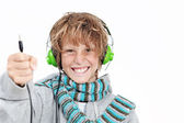 Child with headphones — Stock Photo