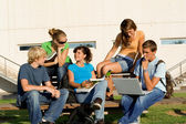 Outdoor study group of students — Stock Photo