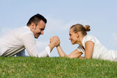 Business, arm wrestling battle of the sexes. — Stock Photo
