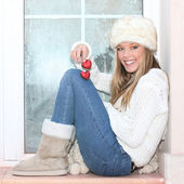 Valentines winter girl with two red hearts — Stock Photo