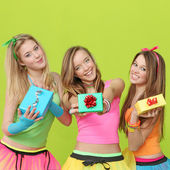 Birthday party teens with gifts — Stock Photo