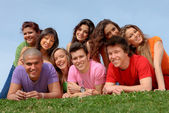 Group of happy smiling teenager friends — Stock Photo