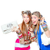 Happy smiling fashion victims with accessories — Stock Photo