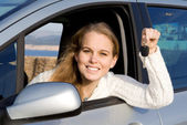 Woman with new car, hire or rental — Stock Photo