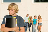 School bully, group bullying lonley kid — Stock Photo