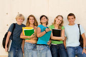 Group of happy students on campus — Stock Photo