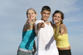 Teens pointing — Stock Photo