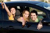 Underage drinking and driving, — Stock Photo