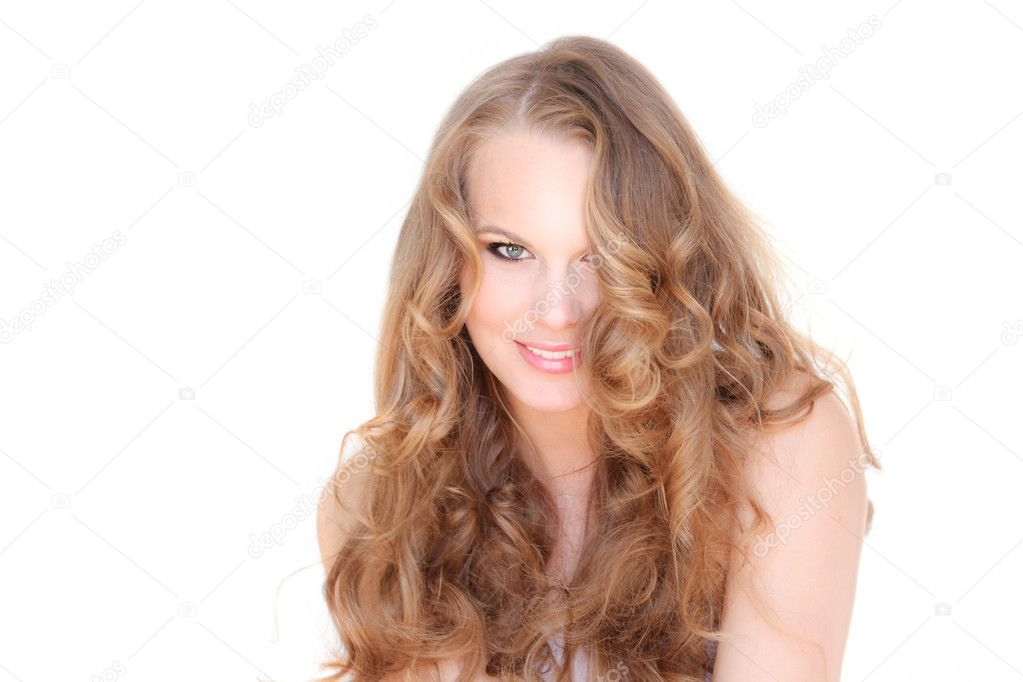 Smiling woman with beautiful hair  Stock Photo #6361403