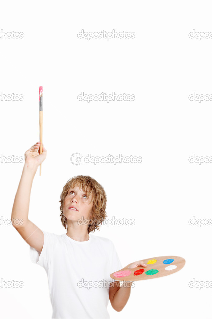 Kid artist painting blank space  Stock Photo #6361451