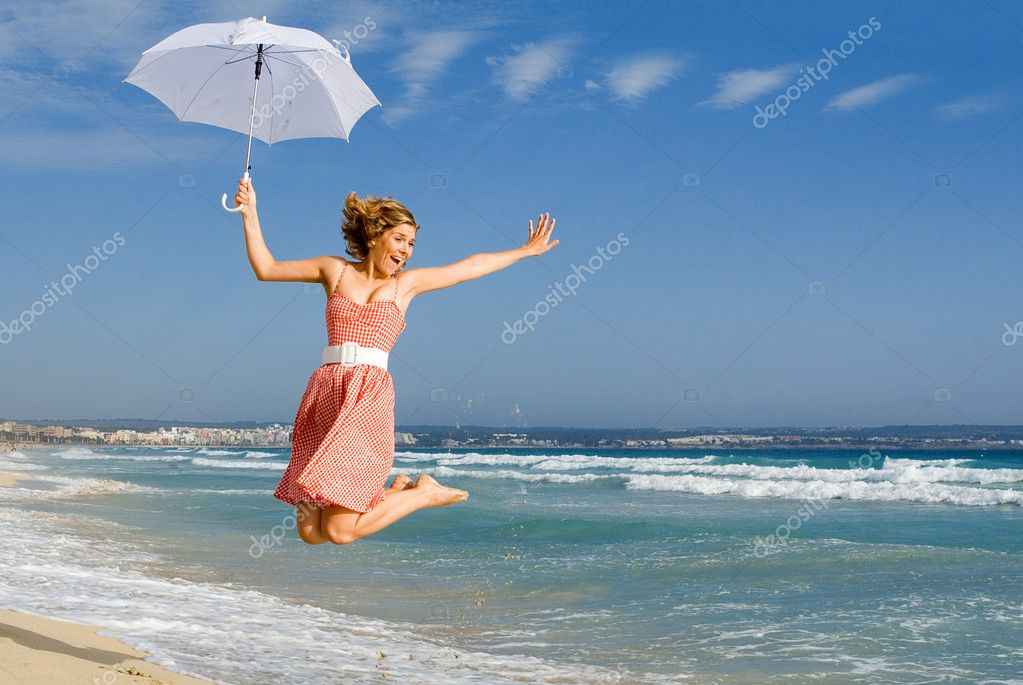 Young woman jumping in summer — Stock Photo #6361521