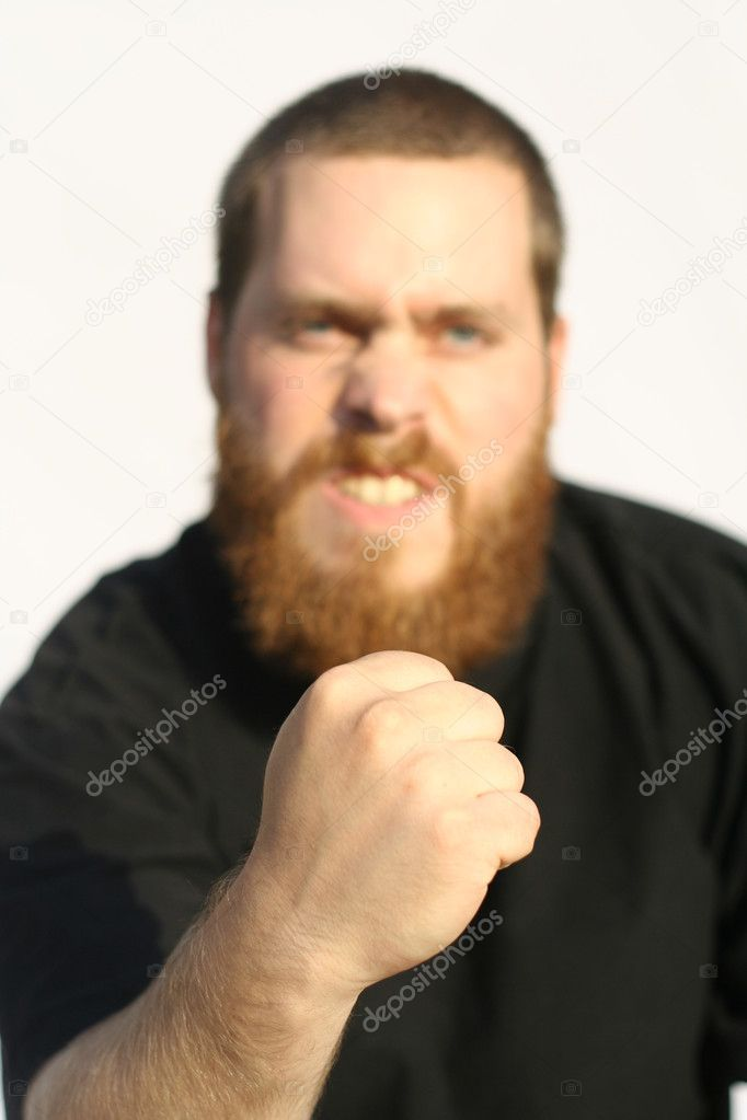 Angry violent man focus on clenched fist — Stock Photo #6361590